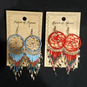 Handcrafted dream catcher beaded earings.